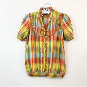 Kimchi Blue Urban Outfitters Plaid Button Top